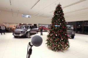 microphone set up fo a christmas party