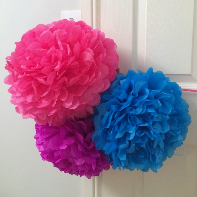 paper pompoms of 80's party