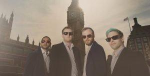 Wandering entertainers in London in front of Big Ben