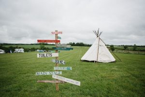 wedding reception with signpost