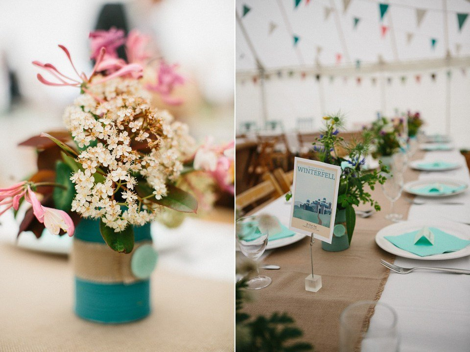 wedding flowers in tins