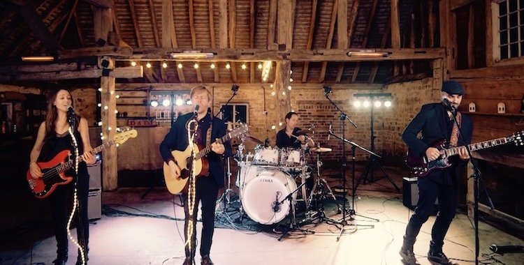 Degree wedding band in a barn