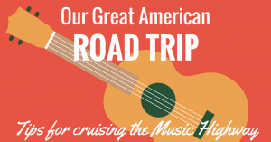 american road trip title page with guitar