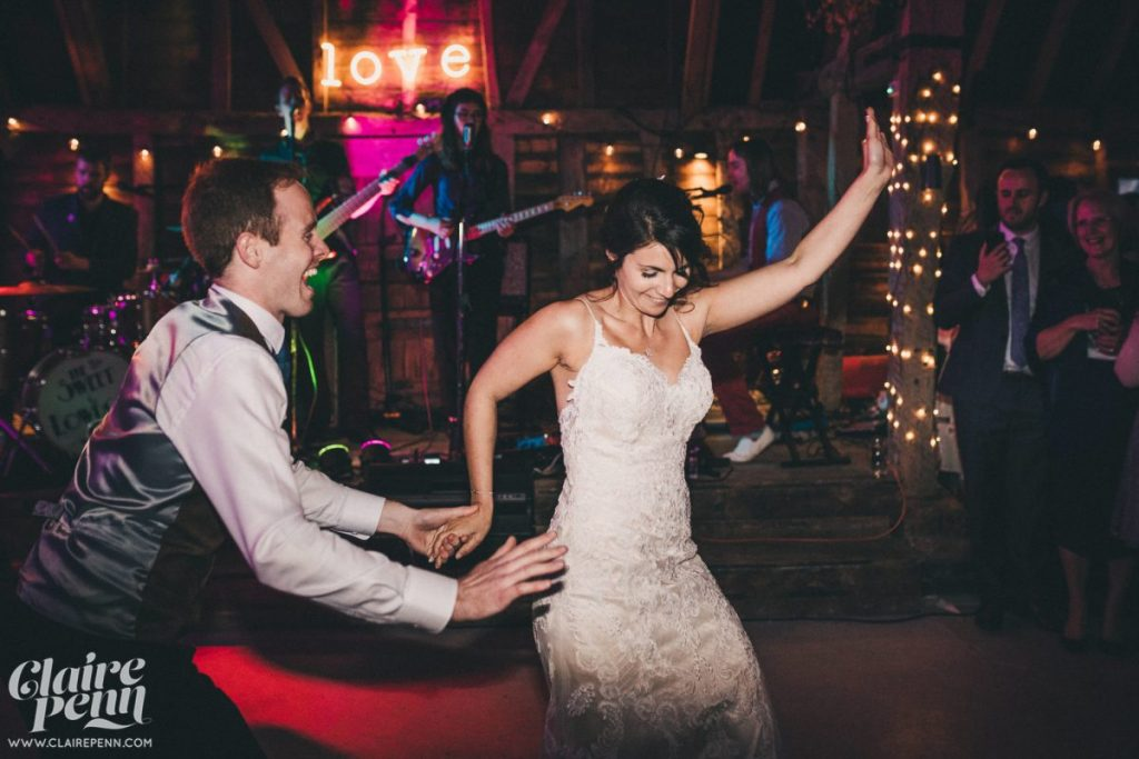 bride and grooms first dance twist and shout