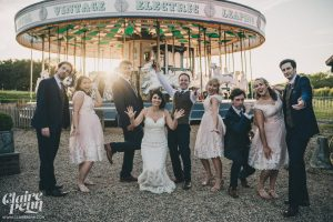 wedding party with carousel