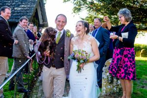 Bride and groom and their dog