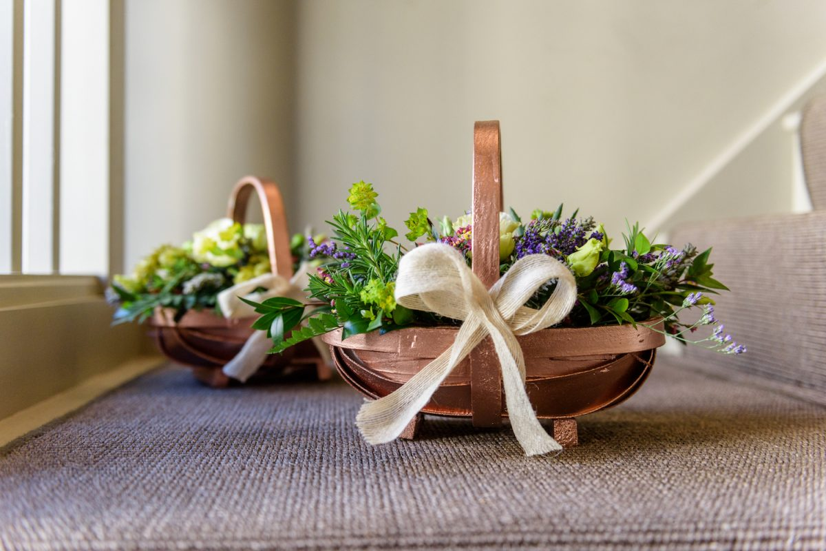 wedding flowers in baskets
