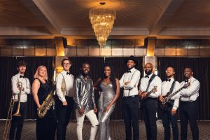 Midlands based soul and motown band posing